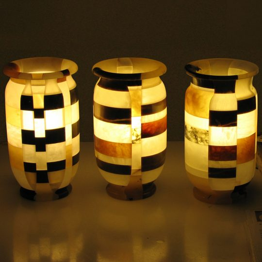 Lampada ornamentale a mosaico in alabastro trasparente